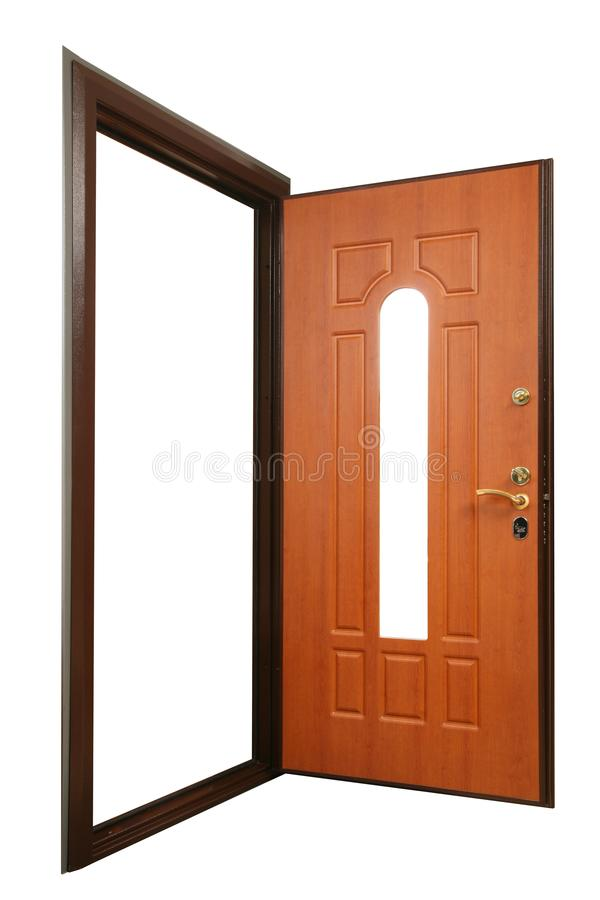 Open powerful metal safe-door with natural wood paneling stock images