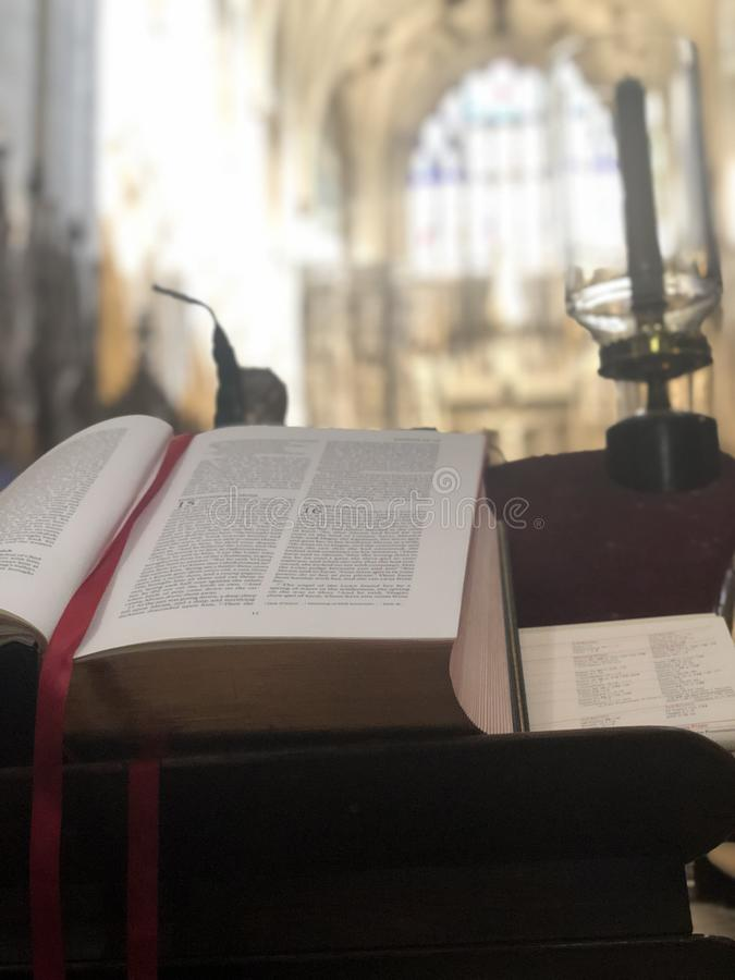 Open prayer book in Winchester Cathedral stock photo