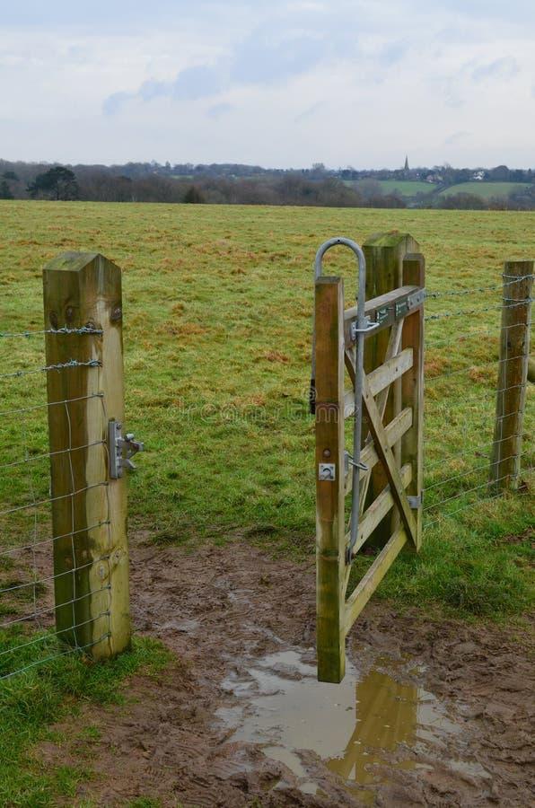 Open public footpath gate. stock photo