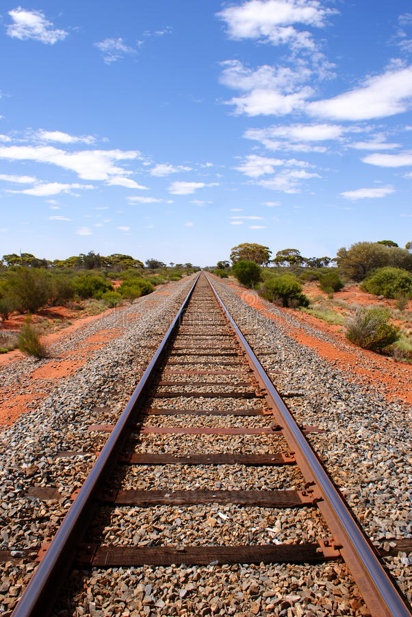 Open railroad in the Australian Outback royalty free stock photography