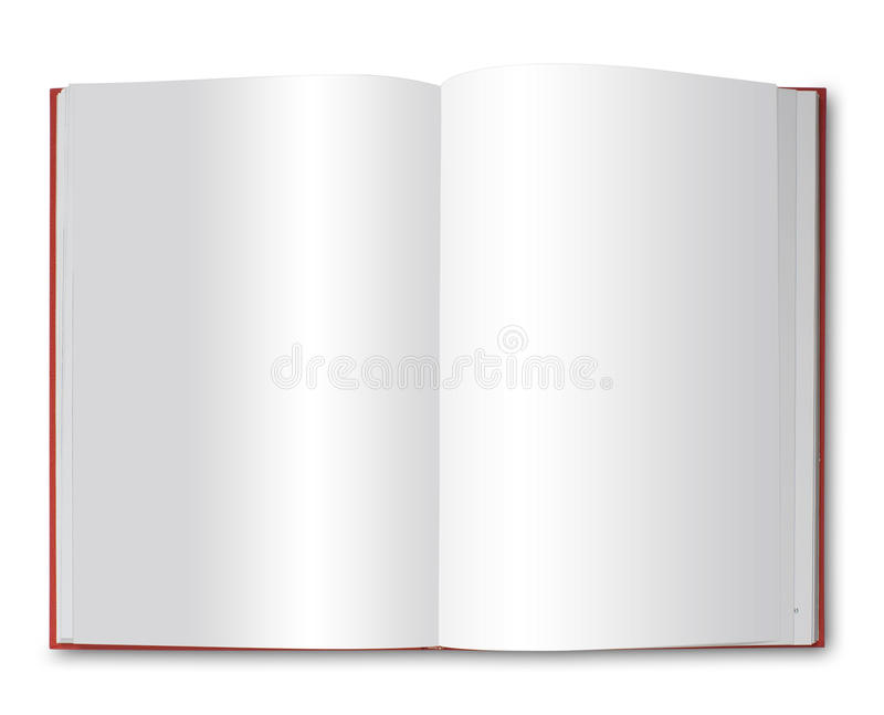 Open red book, isolated vector illustration