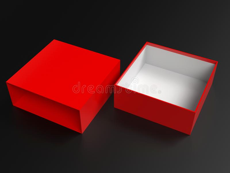 Open red box. Gift box mock up on black background. 3d rendering illustration royalty free illustration