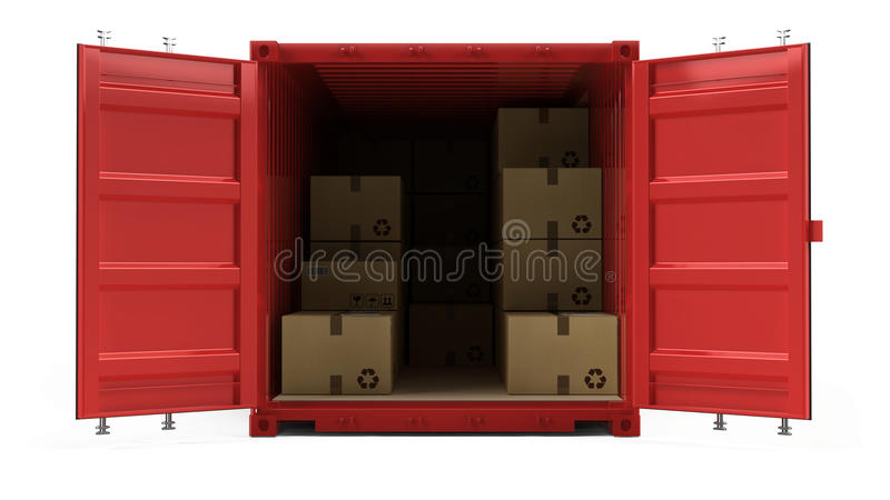 Open red cargo freight shipping container with cardboard boxes isolated on white vector illustration
