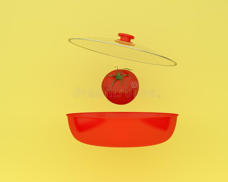 Open red cooking pot with tomato floating on yellow color background. minimal food idea. An idea creative to produce work within a. N advertising marketing royalty free illustration