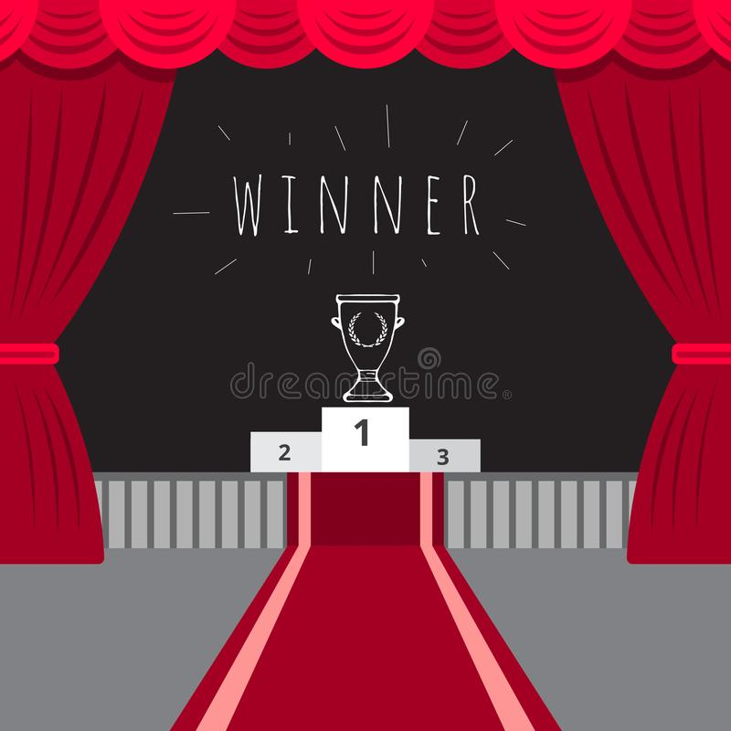 Scene red curtain, red carpet, the award ceremony royalty free illustration