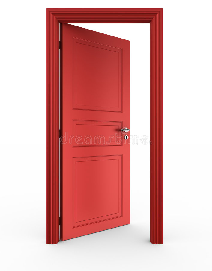 Open red door royalty free illustration