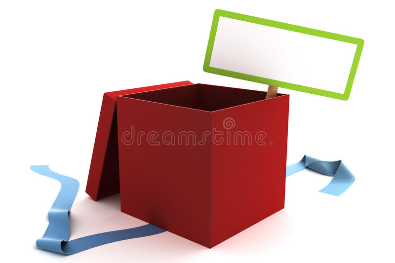 Open red gift box with a blank sign royalty free illustration