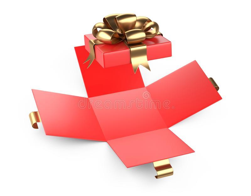 Open red gift christmas cardboard box blank with gold bow. stock illustration