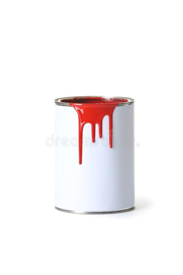 Open red paint can with stains royalty free stock images