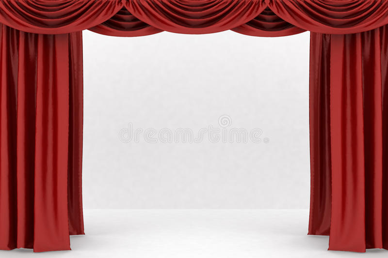 Open Red Theater Curtain Stock Image Image 30411291