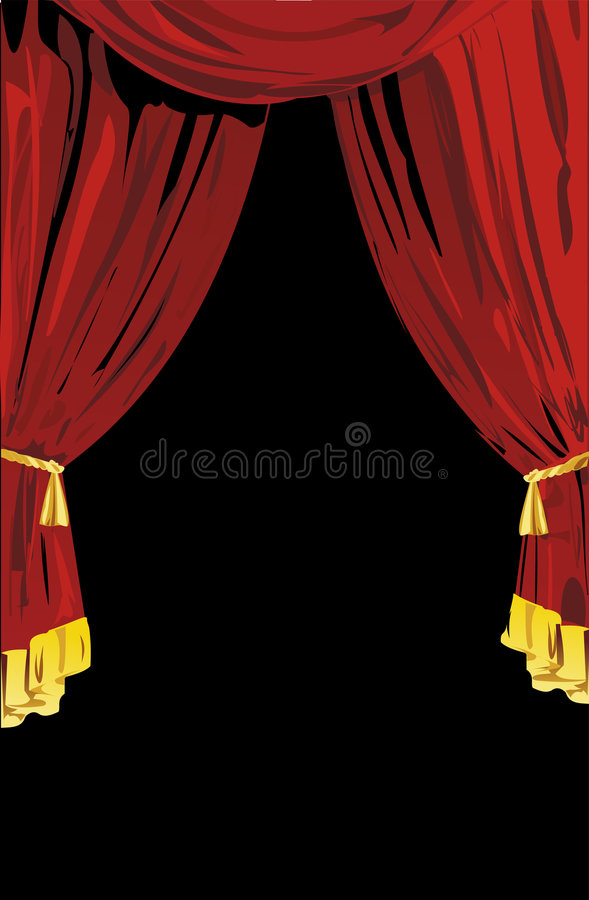 Open Red Theatrical Curtains. Vector Illustration vector illustration