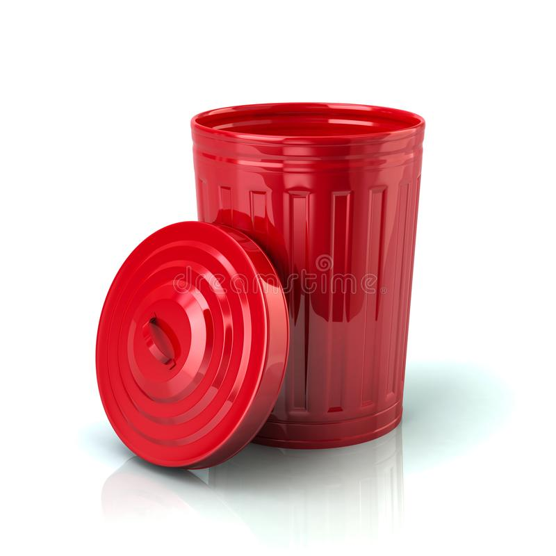 Free Open Red Trash Can 3d Illustration Stock Image - 118215701