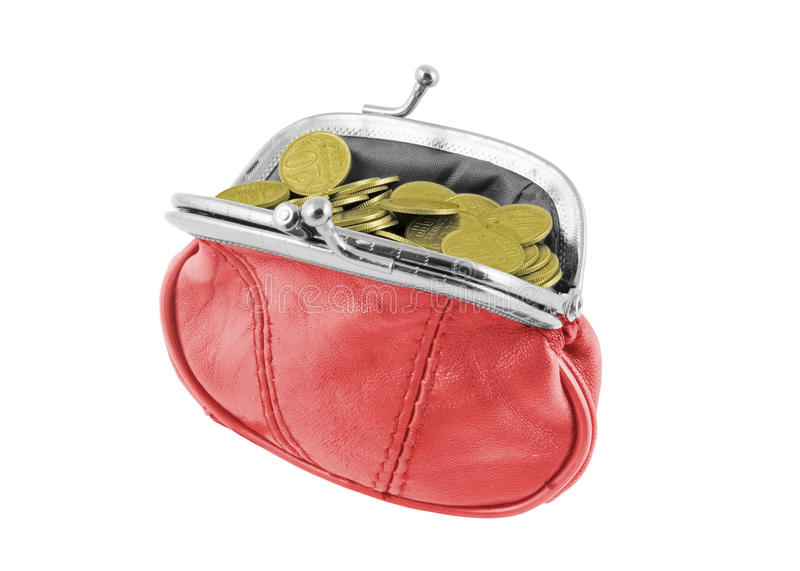 Open red wallet with coins stock photo