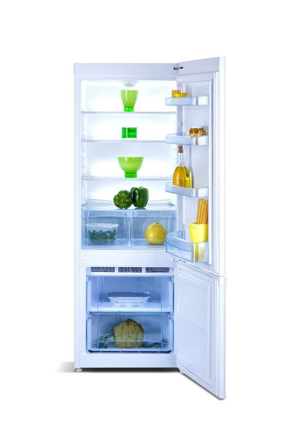 Open refrigerator. Fridge freezer. Open refrigerator with freezer, shiny white, steel, isolated on white, with fresh food royalty free stock images