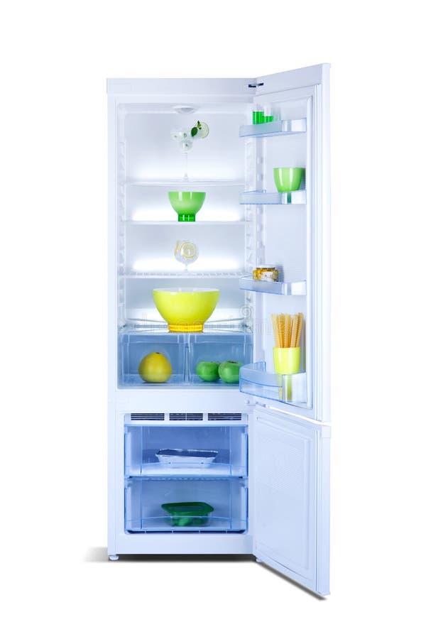 Open refrigerator. Fridge freezer royalty free stock photo
