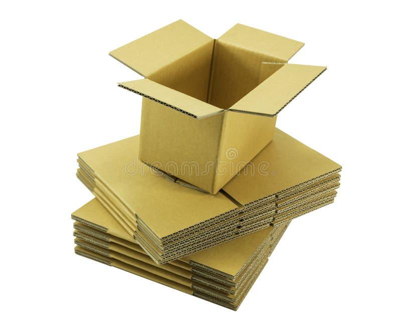 Open regelmatig ingelast containerkarton op gestapelde doos stock foto's