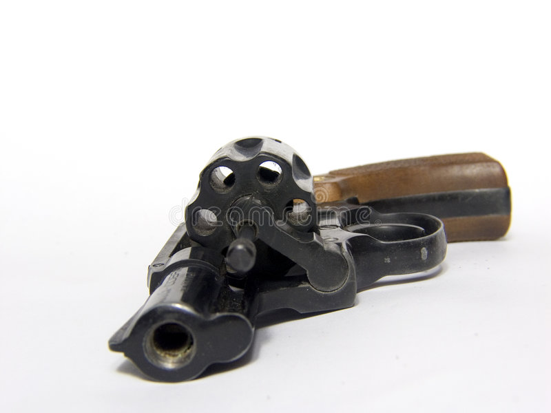 Open revolver. Open black revolver on white background royalty free stock images