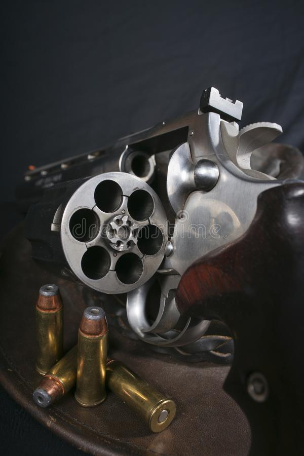 Open Revolver with Cartridges royalty free stock photography