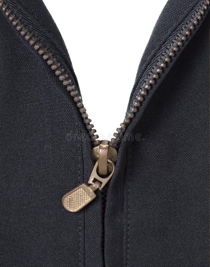 Open ritssluitings zwart Jasje op wit stock fotografie