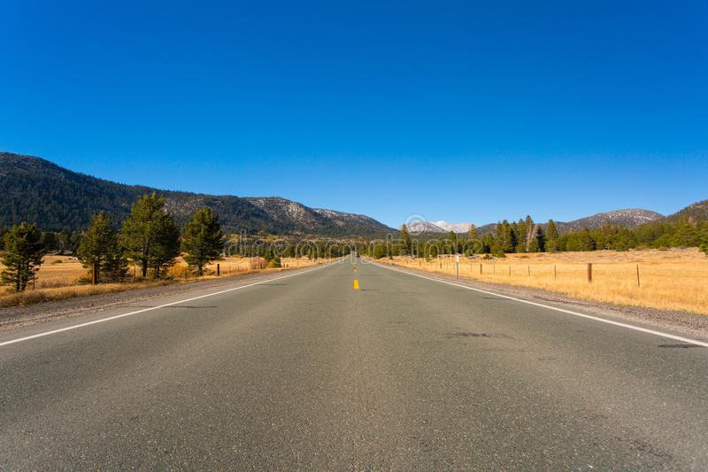 Hope Valley, California, United States. Open road leading to mountains with blue sky, yellowish grass and green trees. Hope Valley, California, United States stock photo