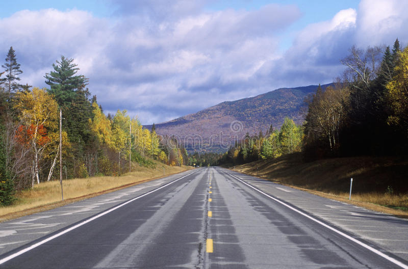An open road on scenic Route 302 in Crawford Notch, New Hampshire royalty free stock image