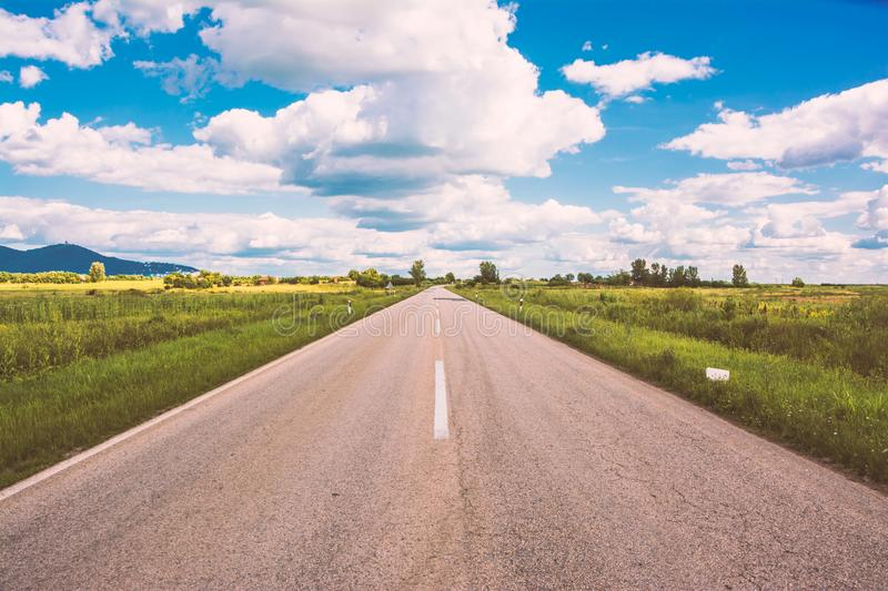 Open road Vrsac Serbia. This is a picture of open road near city of Vrsac Serbia stock photos