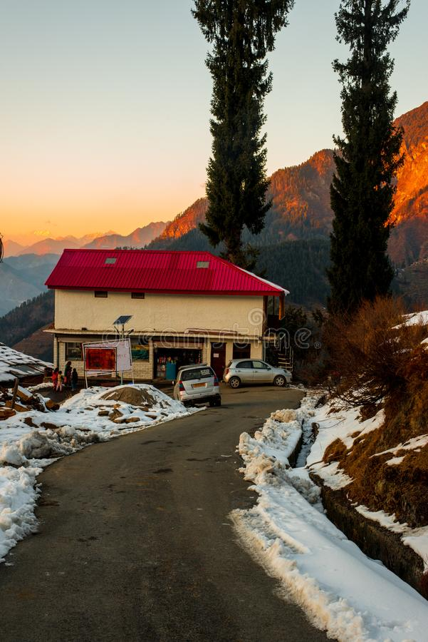 Open road in winter season in himalayas - India royalty free stock photography