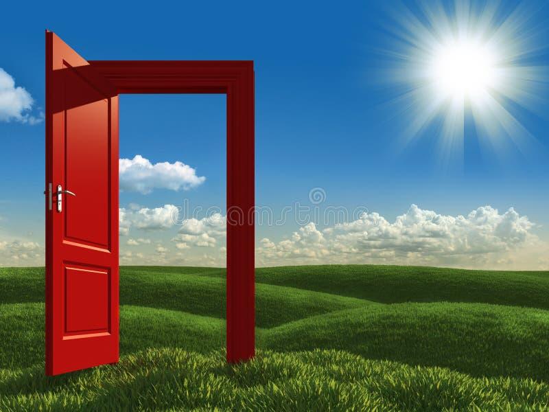 Open rode deur aan de weiden