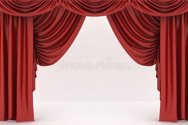 Open rood theatergordijn stock illustratie