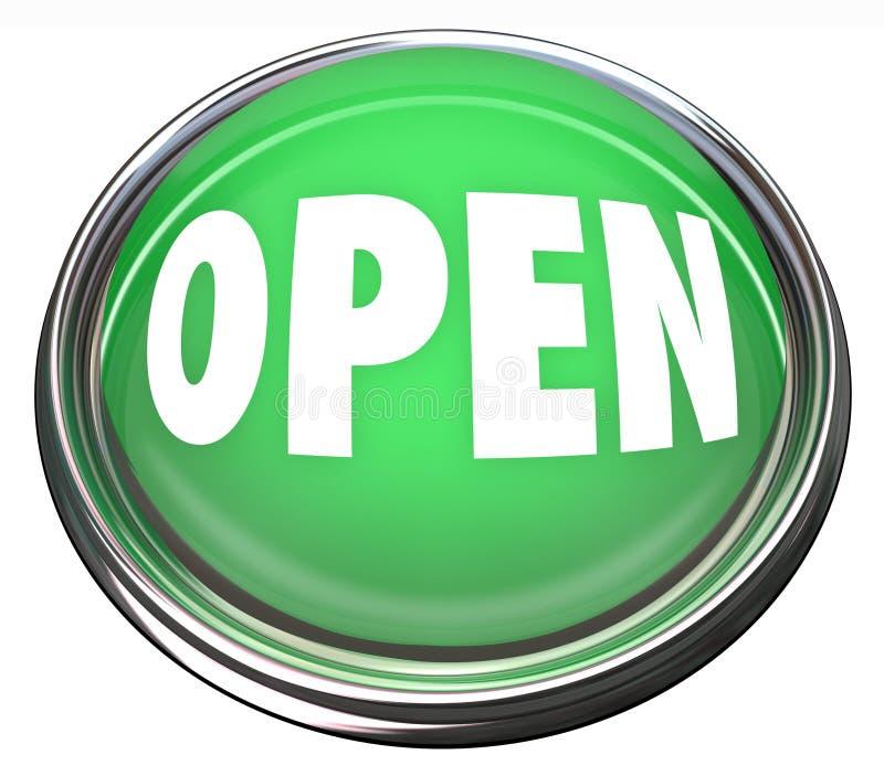 Open Round Green Button Press To Start Stock Photo