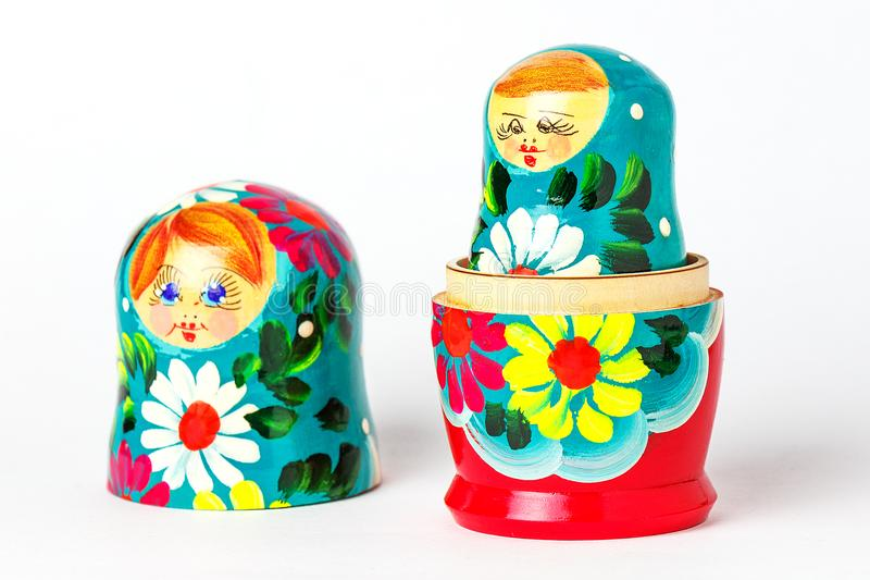 Open Russian handmade doll on a white background stock image
