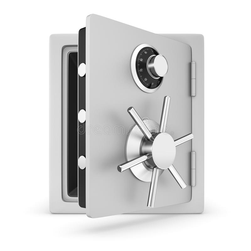 Open safe. Safe with door opened. Isolated on a white background vector illustration