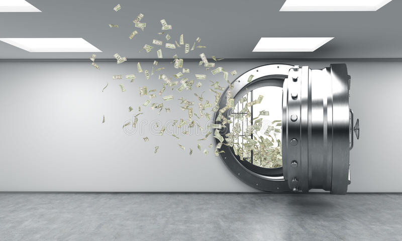 Open safe in bank depository, money flying out from it royalty free illustration