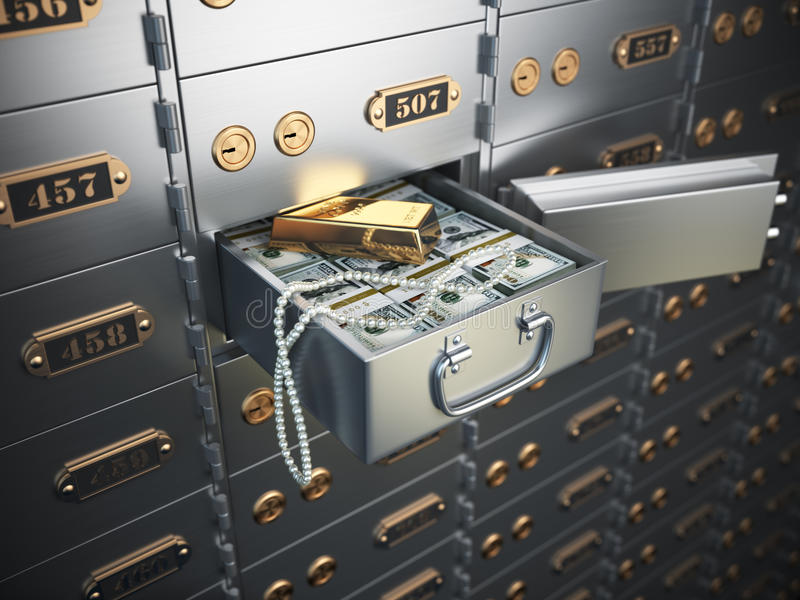 Open safe deposit box with money, jewels and golden ingot. stock illustration