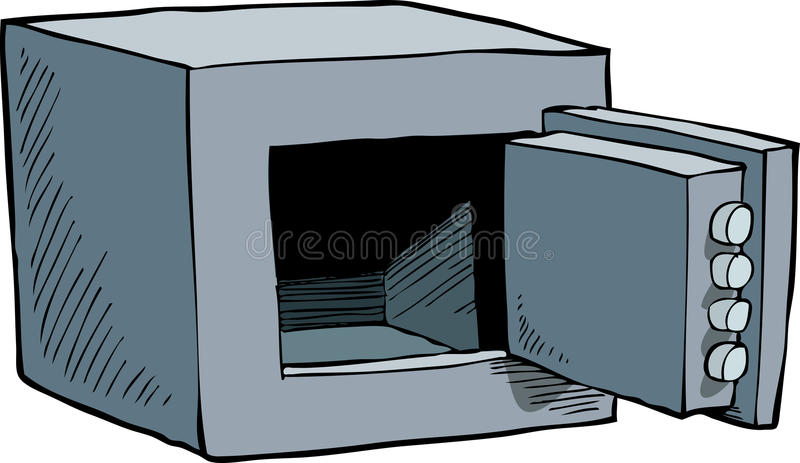 Open safe. Open and empty safe cartoon vector illustration