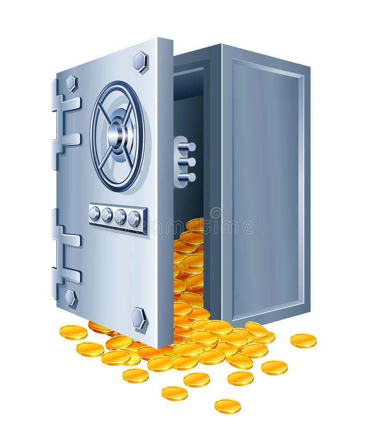 Open safe with gold coins stock illustration