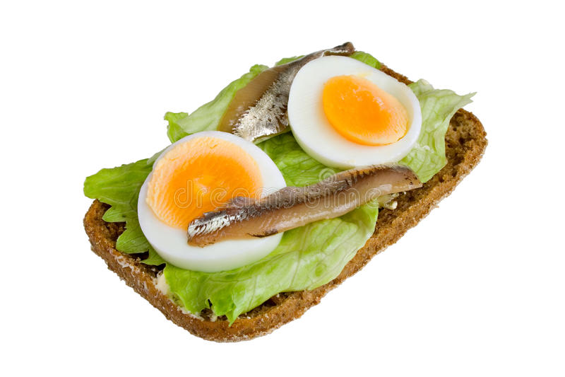 Download Open Sandwich With Egg, Salad And Anchovy Stock Images - Image: 18643444