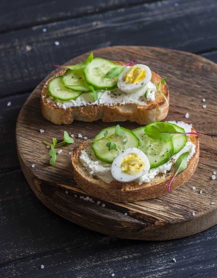 Open sandwich met de kaas van de geit en komkommer en gekookte kwartelseieren stock foto