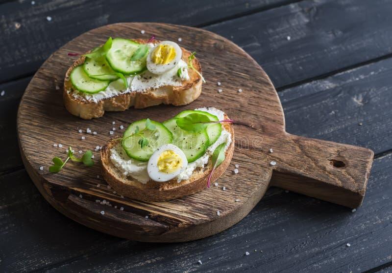 Open sandwich met de kaas van de geit en komkommer en gekookte kwartelseieren royalty-vrije stock foto