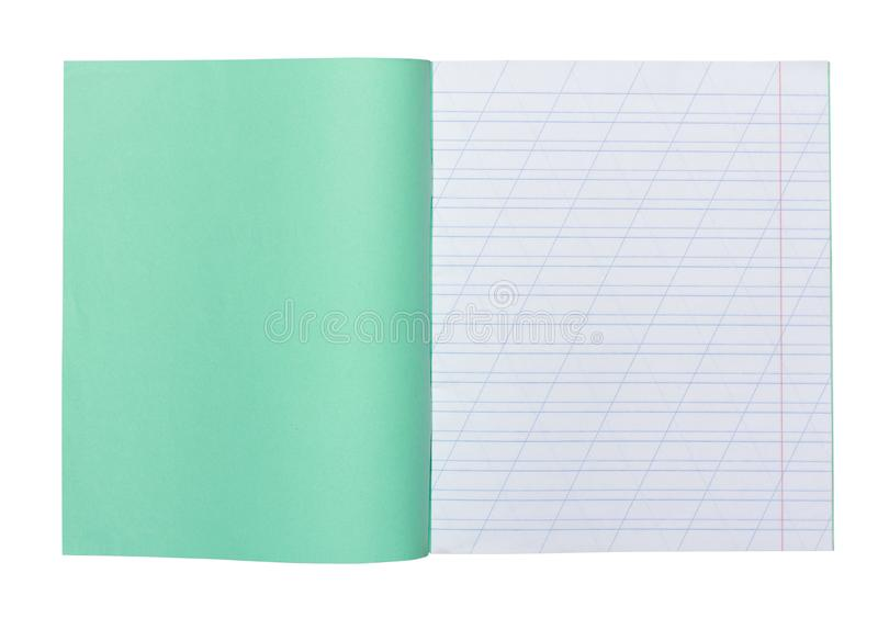 Open school notebook in a narrow line with a slash for learning spelling, mock up with copy space isolated on white stock images