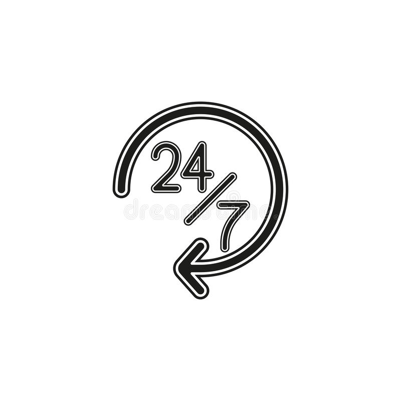 open 24 7 service icon, vector customer service, support sign, call center sign vector illustration