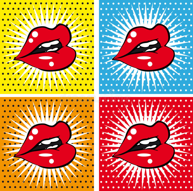Open wet red lips with teeth pop art set backgrounds royalty free illustration