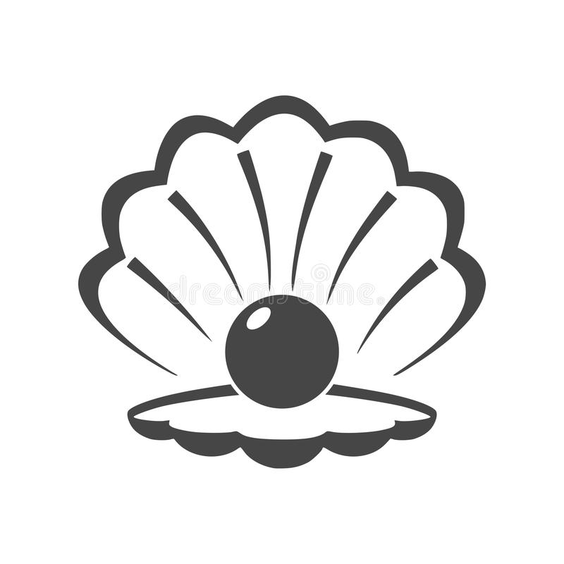 Open shell with a pearl icon stock illustration