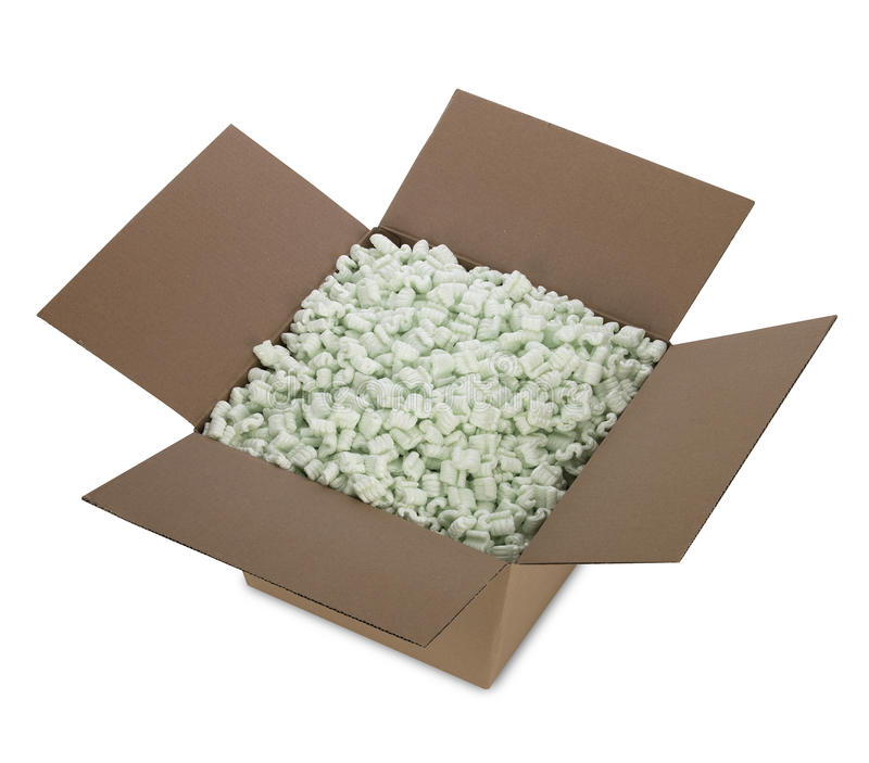 Open Shipping Box Isolated stock photo