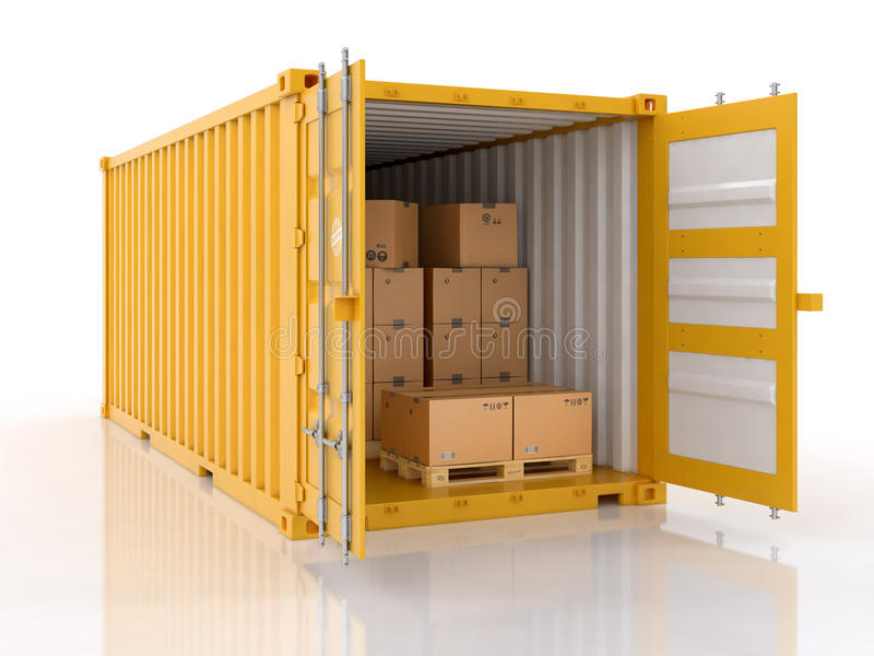 Open shipping container with cardboard boxes and palletes. Isolated on white background stock illustration