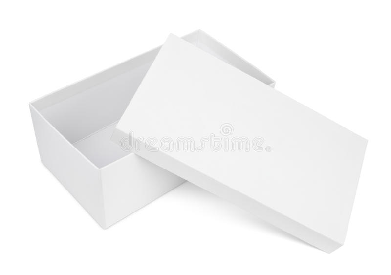 Open shoe box on white. Open shoe box isolated on white with clipping path stock photography