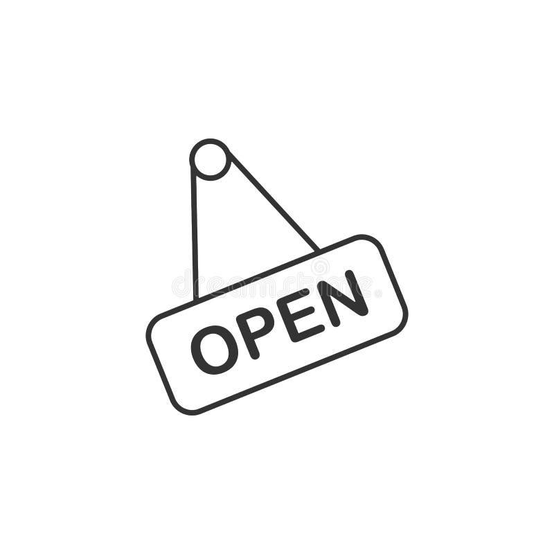 Open, shop line icon. Simple, modern flat vector illustration for mobile app, website or desktop app royalty free illustration