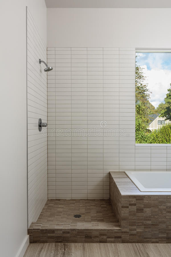 Open Shower And Bathtub In A Modern Home Stock Image - Image of ...