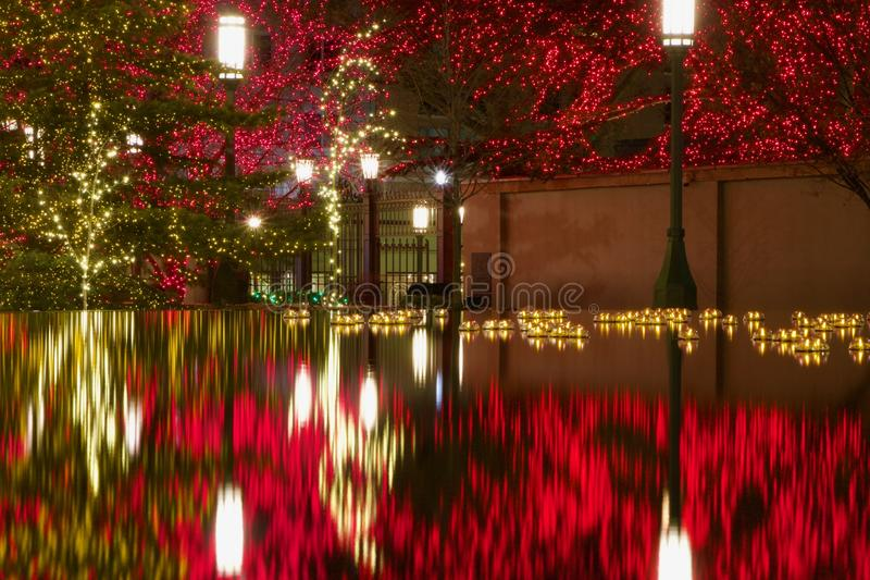 Reflection Pool Outside of LDS Mormon Temple at Christmas in Salt Lake City royalty free stock photos