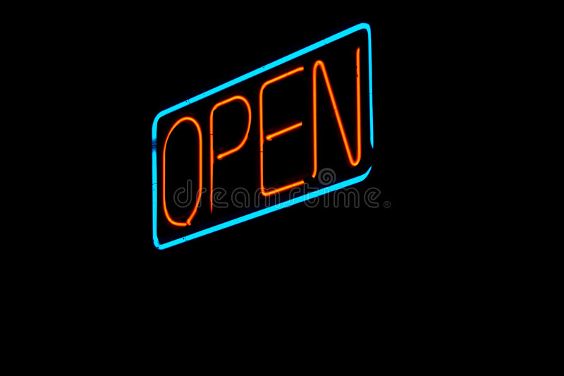 Open Sign. Neon Open Sign at night stock photos
